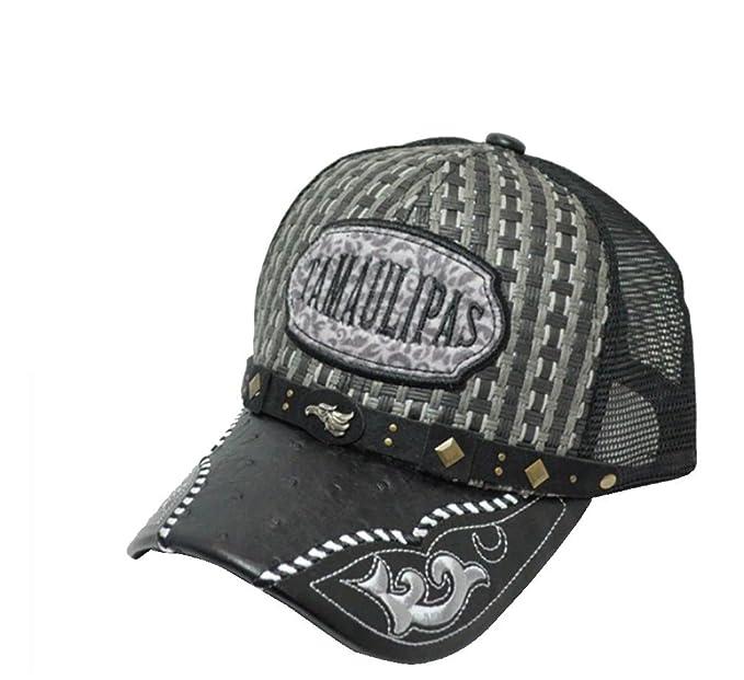 RobsTees El General Gorra Charra Tamaulipas Metal Emblem Woven Mexico Flag Palma Mesh Straw