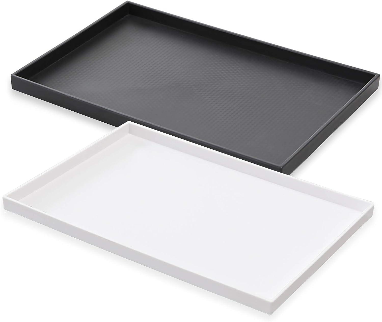 Amazon Com Vezna Home Goods Black And White Bathroom Vanity Tray Set Multi Purpose Counter Plastic Tray Organizer Pack Of 2 14 X 9 5 X 0 8 Home Kitchen