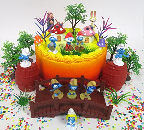 Cake Toppers Smurfs and Friends Birthday Set Featuring Smurf Figures and Decorative Themed Accessories (Cake Smurf)
