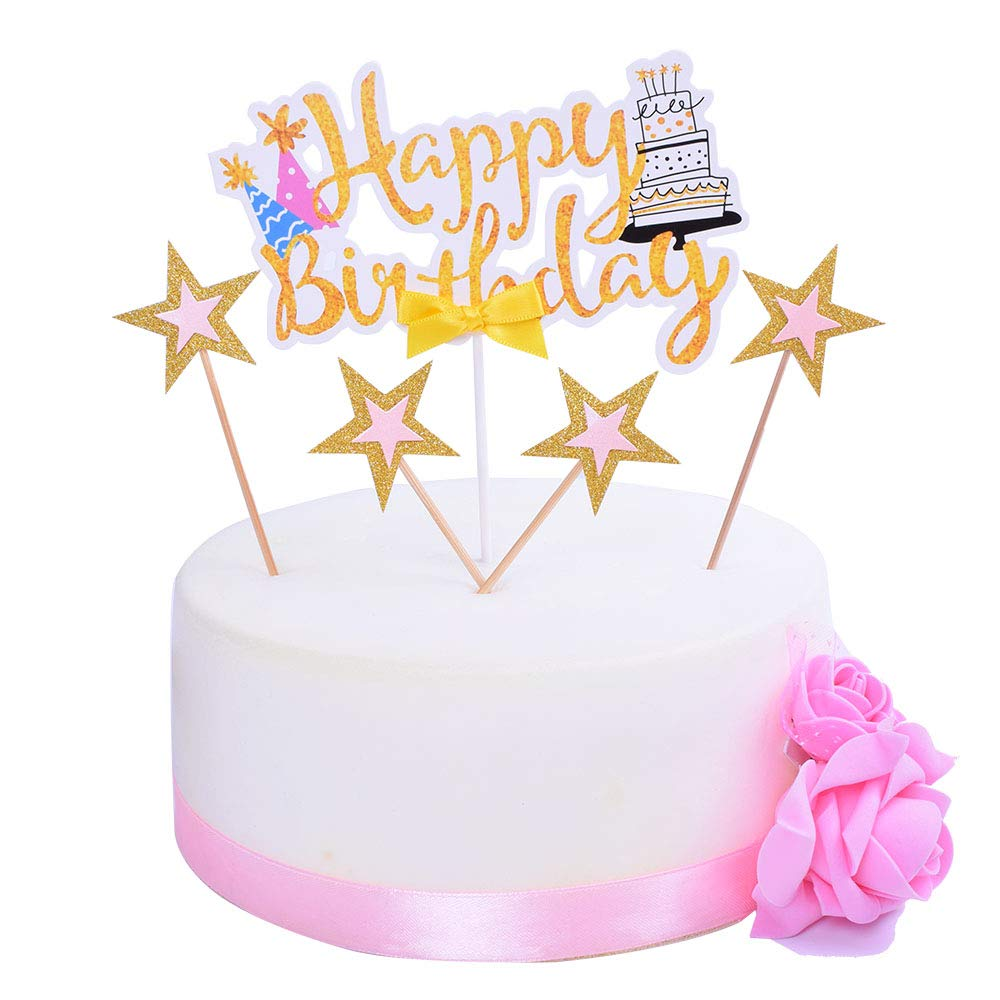 SHAMI Gold Glitter Pentacle Happy Birthday Cake Toppers Premium Card Stock Paper cake Toppers Cartoon Happy Birthday Rhinestone shines Cake Topper for Birthday Party Decorations