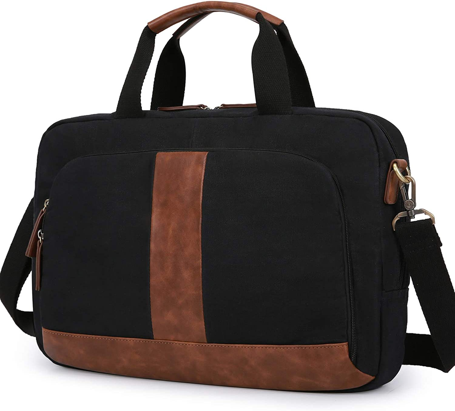 ECOSUSI Messenger Bag Canvas Briefcases for Men Laptop Bag 17.3 inch