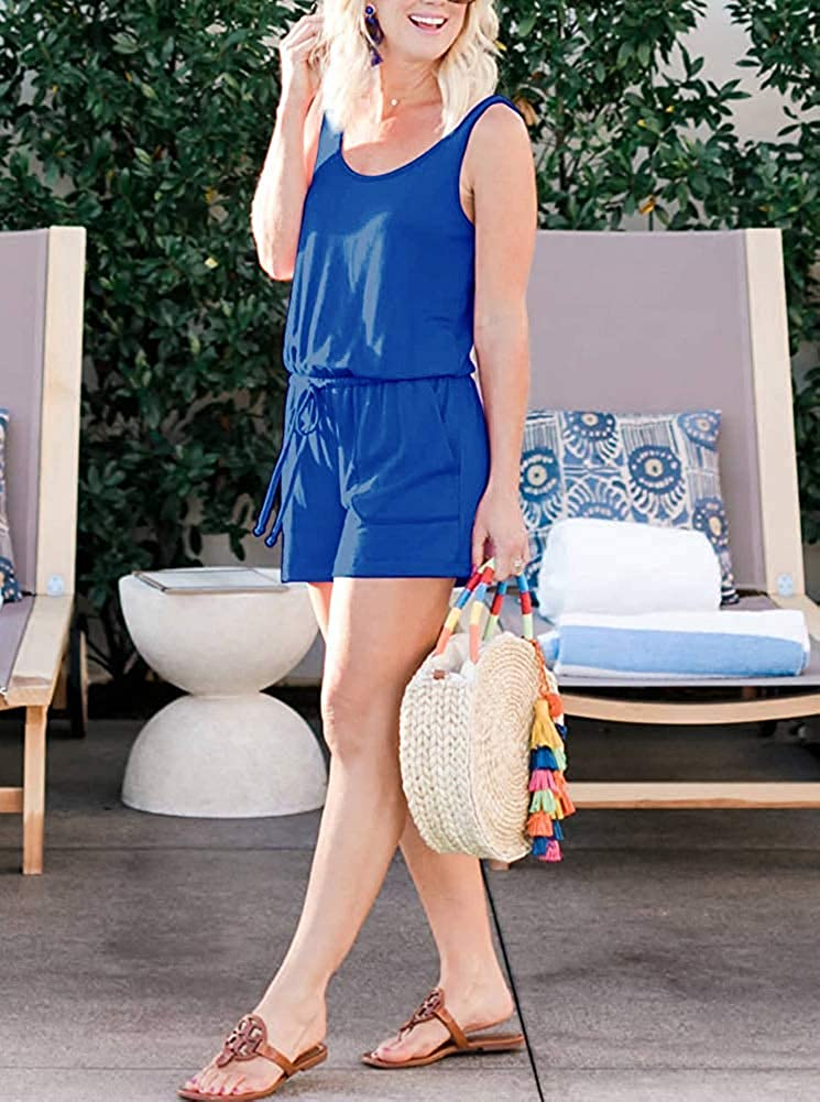 DREAGAL Women Summer Sleeveless Romper Casual Tank Top Short Rompers Jumpsuits with Pockets