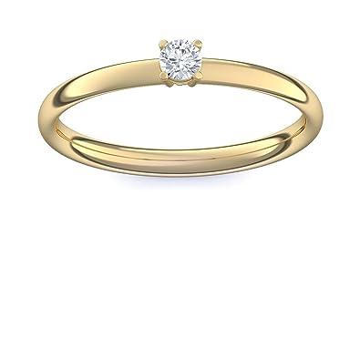 0131c3c57c Verlobungsring 750 Goldring Diamant 0,08 Carat Tw/VS + inkl. Luxusetui +