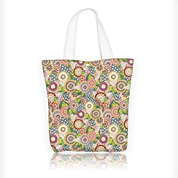 Women s Canvas Tote Handbags Pastel Batik Background with Flower and Leaf  Shaped Mix Line and Indian