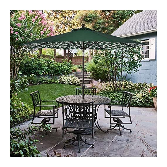 SUNLONO 9FT Patio Umbrella Outdoor Table Umbrella with 8 Sturdy Ribs and Inside Flower Pattern (Dark Green) - 【Durable & Sturdy Construction】8 aluminum ribs are both powder-coated against rust, corrosion, chipping and peeling for long-term use. 【Convenient Crank & Tilt System】Operates with crank lifting system for your easy and quick use, with push-button tilt to keep the sun at your back all the time 【95% UV Protection】The patio umbrella is made of 100% polyester fabric,long-Lasting,fade resistant,easy to clean. Outdoor market umbrella provide 95% UV protection,you could enjoy a cooler environment - shades-parasols, patio-furniture, patio - 61hIysvczxL. SS570  -