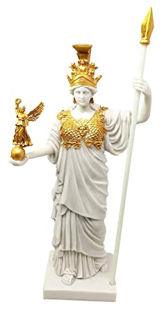Virgin Patroness of Athens Athena Greek Goddess Figurine Wisdom War Strategy Classical Finish In Gold Leaf Resin