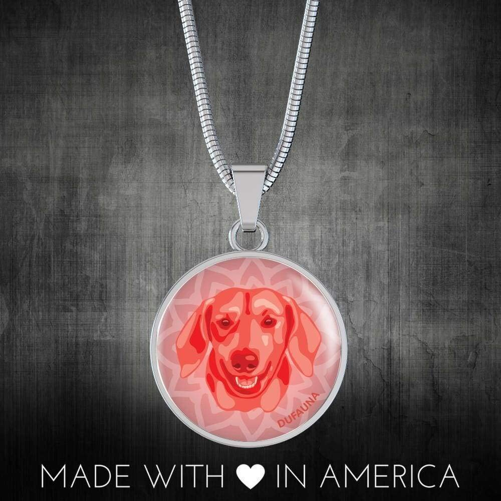 Steel or 18k Gold Finish DuFauna Red Dachshund Necklace D1 18-22 Many Colors