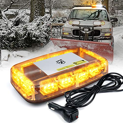 """Xprite Amber LED Rooftop 12"""" Mini Emergency Strobe Light Bar, 15 Flash Modes Hazard Warning Beacon Lights w/Magnetic Base for Safety Law Enforcement Trucks, Construction Vehicles, Cars, Snow Plow"""