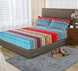 YOUSA Boho Style Fitted Sheet Exotic Bohemian Bed Sheet Full Size (Full/1Pc Fitted Sheet,01)