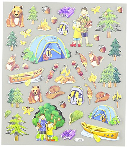 Tattoo King Multi-Colored Stickers-Camping Trip ()