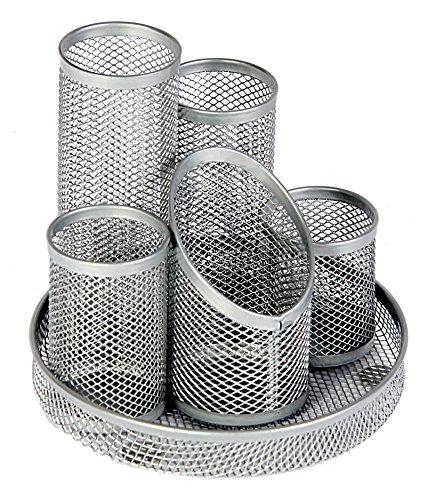 Osco Stifteköcher Mesh kratzfest mit streifenfreier Unterseite 5 Röhren silbern
