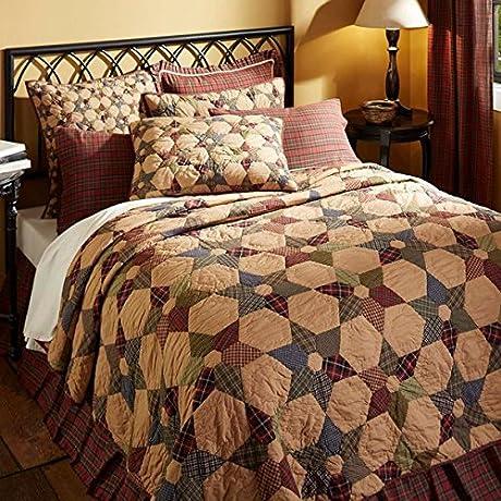 6 Pc TEA STAR Primitive Farmhouse XL Queen Set 1 Quilt 2 Shams 2 Pillow Cases 1 BONUS Burlap Star Pillow Cover
