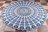 Blue Round Mandala Roundie Indian Peacock Tapestry Tablecloth Round Mandala Beach Sheet Meditation Yoga Mat Bohemian Beach Hippie Decoror