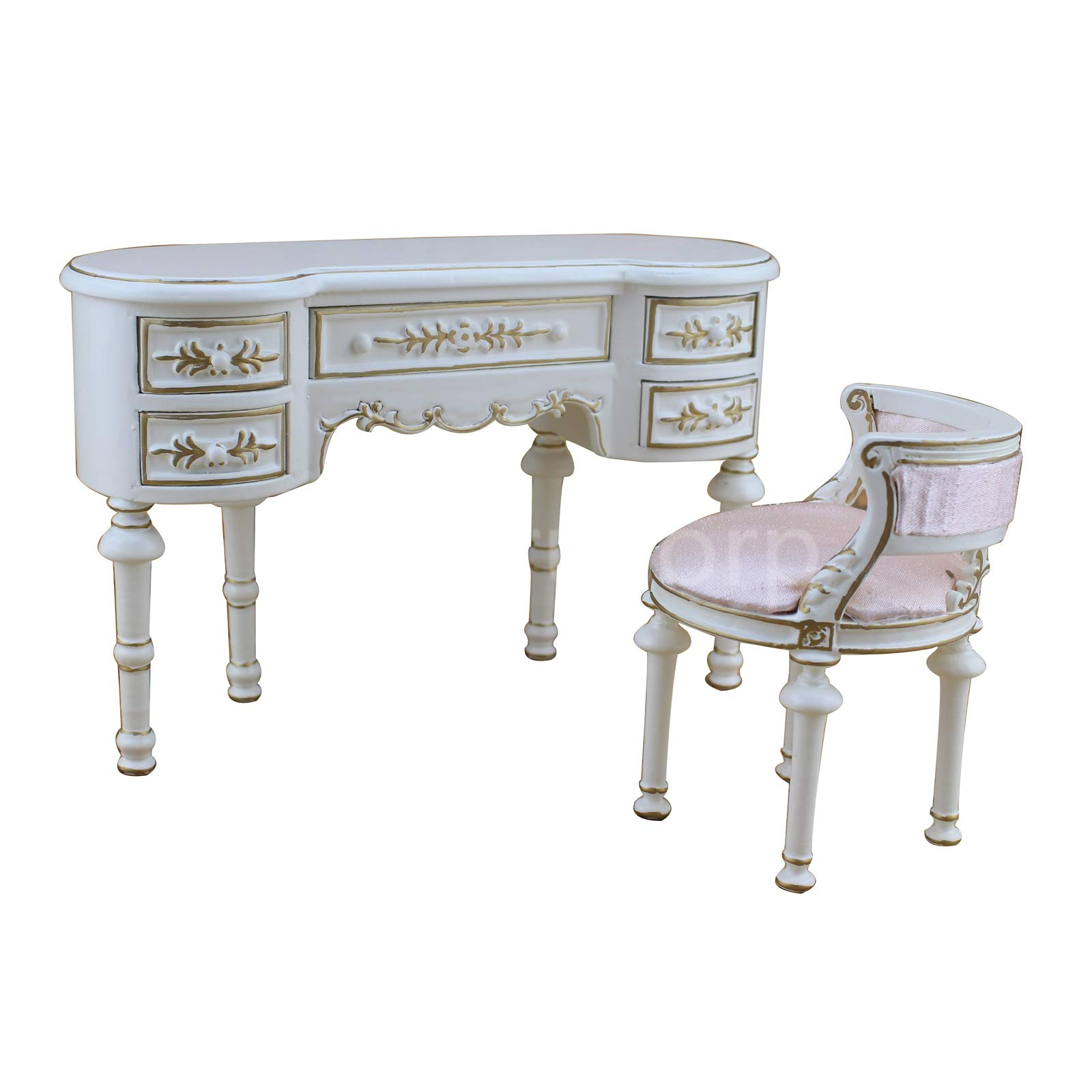 Meirucorp Fine BJD 1:6 Doll Miniature Furniture Exquisite White Classical Desk and Chair Set