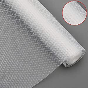 Bloss Plastic Shelf Liners Cabinet Drawer Liner Non-Slip Shelf Liner Non-Adhesive Refrigerator Mat Cupboard Pad Antibacterial Antifouling No Odorfor Kitchen Home-Clear 17.7 ×59 Inch