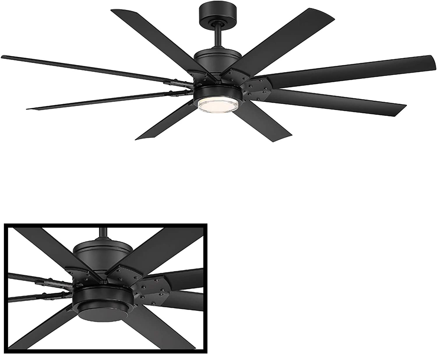 Renegade 52 in. 8 Blade Matte Black Smart Ceiling Fan with 3000K Light Kit and Remote works with iOS/Android app, Alexa, Google Assistant, SmartThings, Control4, & more