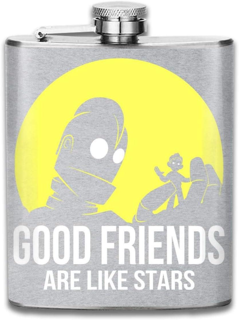 Good Friends - Petaca de hierro gigante con bolsillo, diseño de flagón de acero inoxidable, portátil, 177 ml