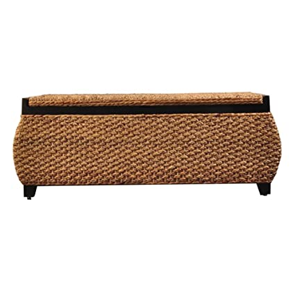 Storage Stool LXF Ottomans Grass Rattan Shoe Bench Leisure Ottoman Solid  Wood Frame Linen Lining Sofa