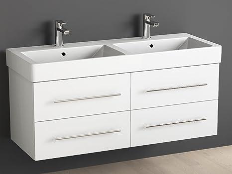 Aqua Bagno Mobile Bagno 120 cm con Doppio lavabo/Bagno in Ceramica ...