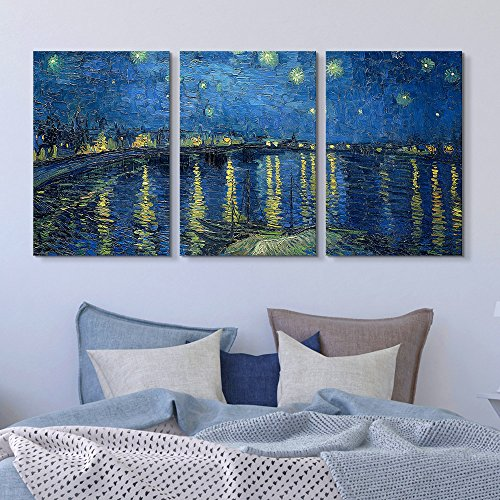 3 Panel Starry Night over The Rhone by Vincent Van Gogh Gallery x 3 Panels