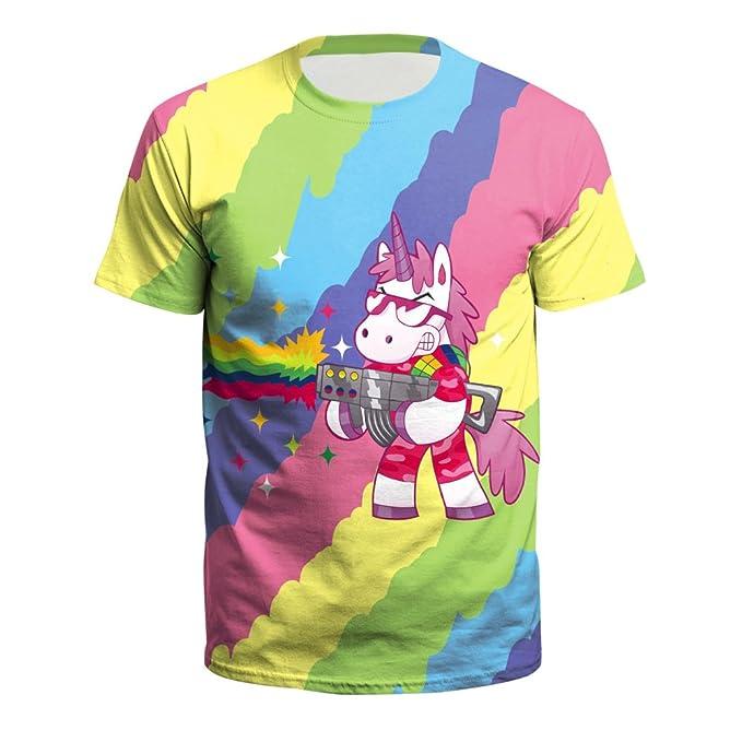 PXUDB Para Hombre Color Unicornio Gráfico Corto Manga Camiseta Súper Premium Cuello Redondo Camisa,C1