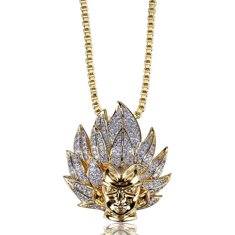 Jewelrysays Hip Hop Men Jewelry CZ Cartoon Super Saiyan Goku Avatar Pendant Necklace for Men