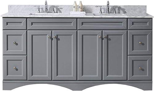 Virtu USA ED-25072-WMRO-GR-NM Talisa 72 Double Bathroom Vanity Set in Grey, 72 inches, Cool Gray