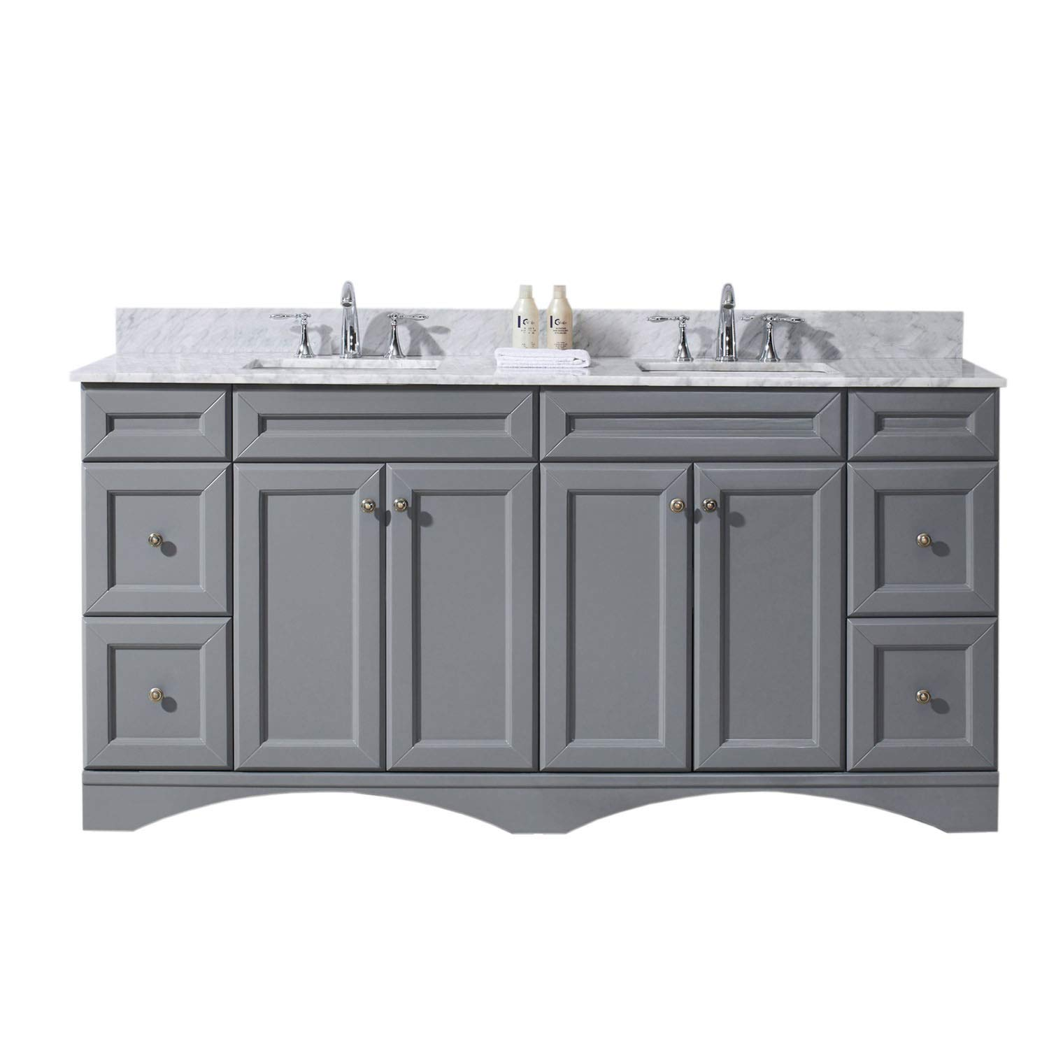 Virtu USA ED-25072-WMSQ-GR-NM Talisa 72 Double Bathroom Vanity in Grey with Marble Top and Square Sink, 72 inches, Cool Gray