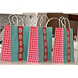 25cm*10cm*26.5cm 25 Medium Kraft Gift Paper Bags with Handles, 25 Tags and Strings Unique Design for Birthday, Wedding or Other Parties, Gift Bags in Bulk