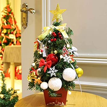 Artificial Christmas Tree Tabletop Pre-lit Battery Operated C hristmas Tree  with Red Berries and - Artificial Christmas Tree Tabletop Pre-lit Battery Operated C