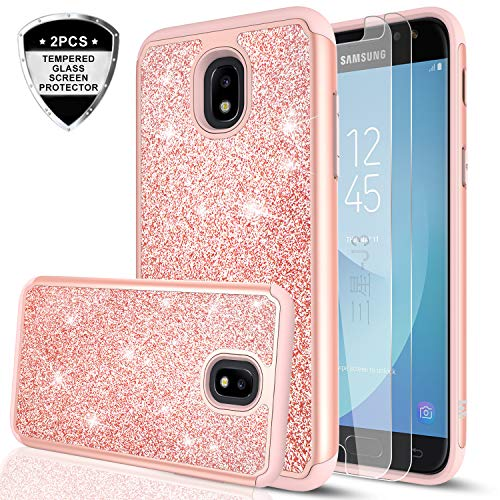 Galaxy J3 2018/ J3 Orbit/J3 Emerge (2018)/J3V (3rd Gen)/Express Prime 3/J3 Star/J3 Achieve Case w/Tempered Glass Screen Protector for Girls,LeYi Glitter Phone Case for Samsung Amp Prime 3 TP Rose Gold