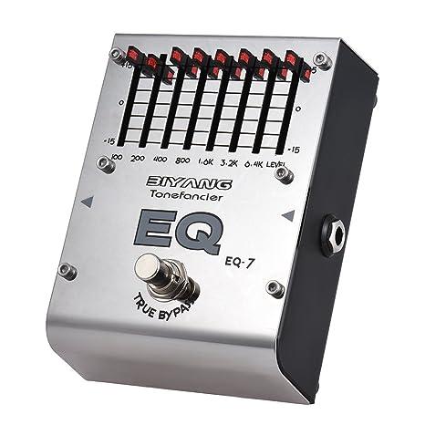 ammoon BIYANG Efecto ecualizador Pedal EQ de 7 bandas Guitarra electrica Serie Tonefacier True Bypass Carcasa