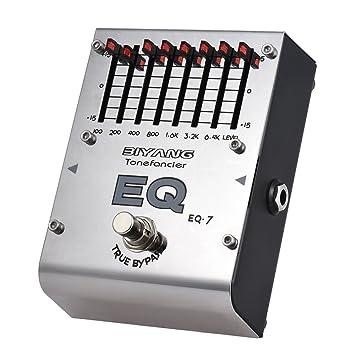 ammoon BIYANG Efecto ecualizador Pedal EQ de 7 bandas Guitarra electrica Serie Tonefacier True Bypass Carcasa metálica completa: Amazon.es: Instrumentos ...