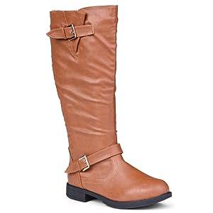 Twisted Women's Amira Wide Calf Knee-High Riding Boot-COGNAC