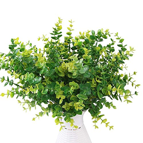 Artificial Shrubs,AmyHomie 5pcs Faux Plastic Eucalyptus Leaves Bushes Fake Simulation Greenery Plants Indoor Outside Home Garden Office Verandah Wedding Decor