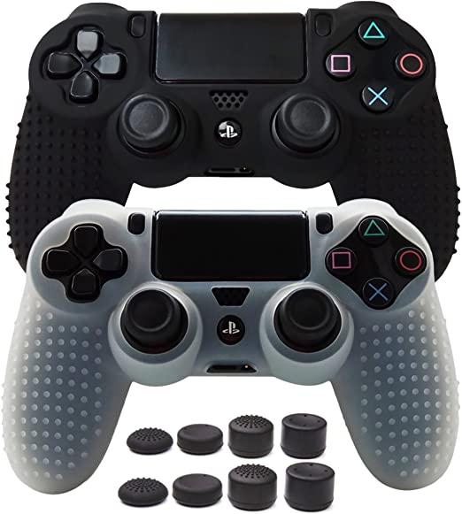 Pandaren Skin for PS4/PS4 Slim/PS4 Pro/Playstation 4/Controller,PS4 Controller Cover,Studded Anti-Slip Silicone Skin Set (Controller Skin x 2 + FPS PRO Thumb Grips x 8)(Black,White)