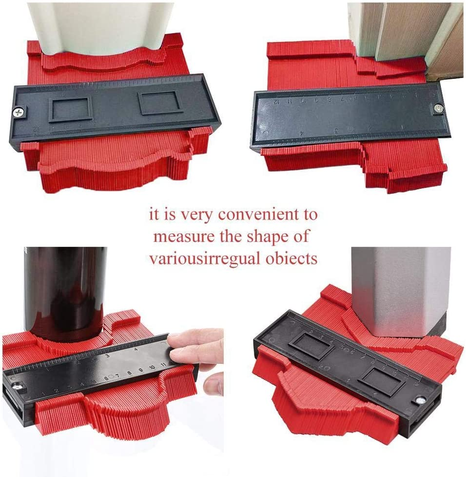 AOBAMA Contour gauge Copy Gauge Contour Gauge Duplicator Contour Scale Template Wood Marking Tools Tile Measuring Ruler-50cm 14cm Red