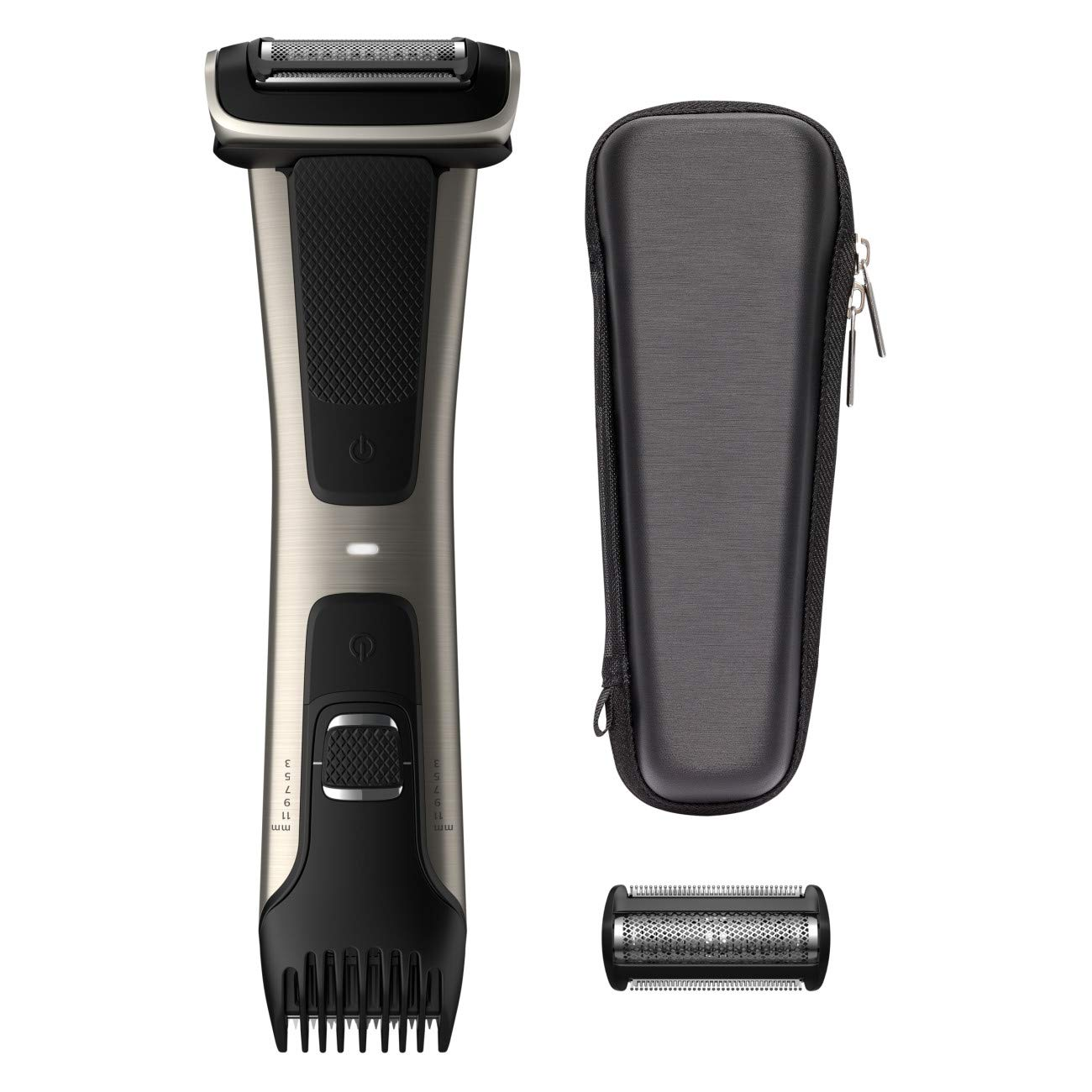 Philips Norelco Bodygroom Series 7000, BG7040/42, Showerproof Dual-sided Body Trimmer and Shaver for Men + Case and Replacement Head by Philips Norelco
