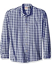 Wrangler Authentics Men's Big-Tall Long Sleeve Premium Gingham Shirt, Blue Depths, 3XL