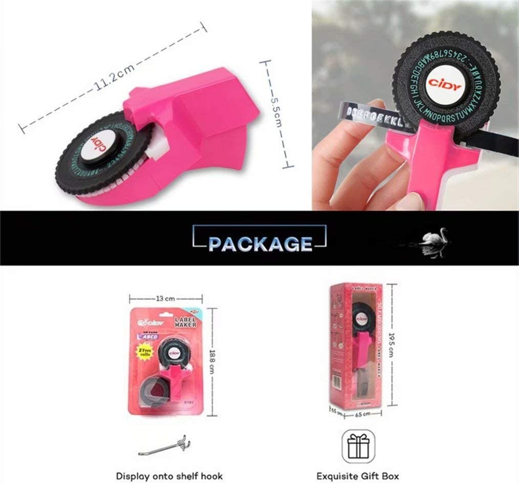 Mini DIY Decorative Manual Typewriter fit for 9mm 3D Label Tape E101 Embossing Label Maker Upgrade Version C101 with 2 Plastic Tapes