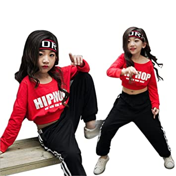 4614da603 Moyuqi Girls Red Ballroom Jazz Hip Hop Dance Costumes Crop Tops Shirts And  Pants (110cm