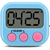 Digital Kitchen Timer, Gyvazla Mini Portable Digital LCD Display Cooking Timer, Large Display, Loud Alarm, Timer Memory Recall Function, Count up Countdown Timer for Kids Baking Exercise Game, Blue
