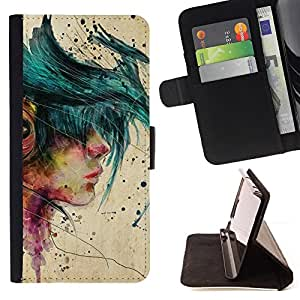 "For Sony Xperia Z5 Compact Z5 Mini (Not for Normal Z5),S-type Muchacha de la música Emo Hipster Beige Pintura"" - Dibujo PU billetera de cuero Funda Case Caso de la piel de la bolsa protectora"