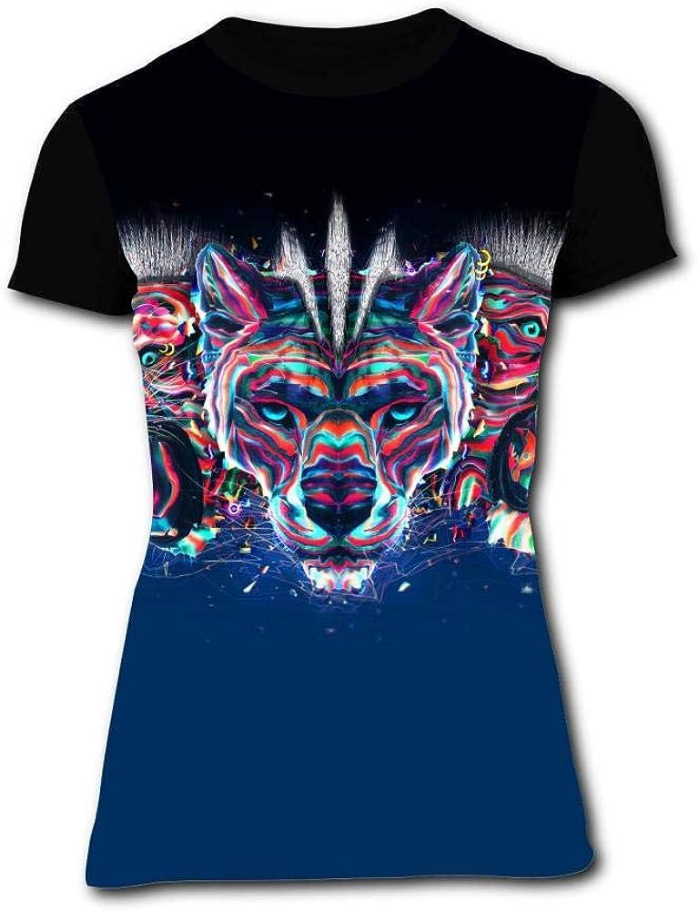 Gujigur Womens T Shirt Digital Art Lion and Tiger Summer Casual Short Sleeve Tee Creative 3D Printed Hipster Design