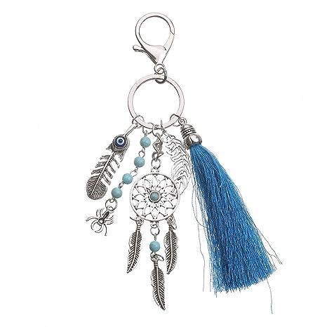 Kanggest Llavero Bohemia Lana borla Vintage hoja accesorios ...