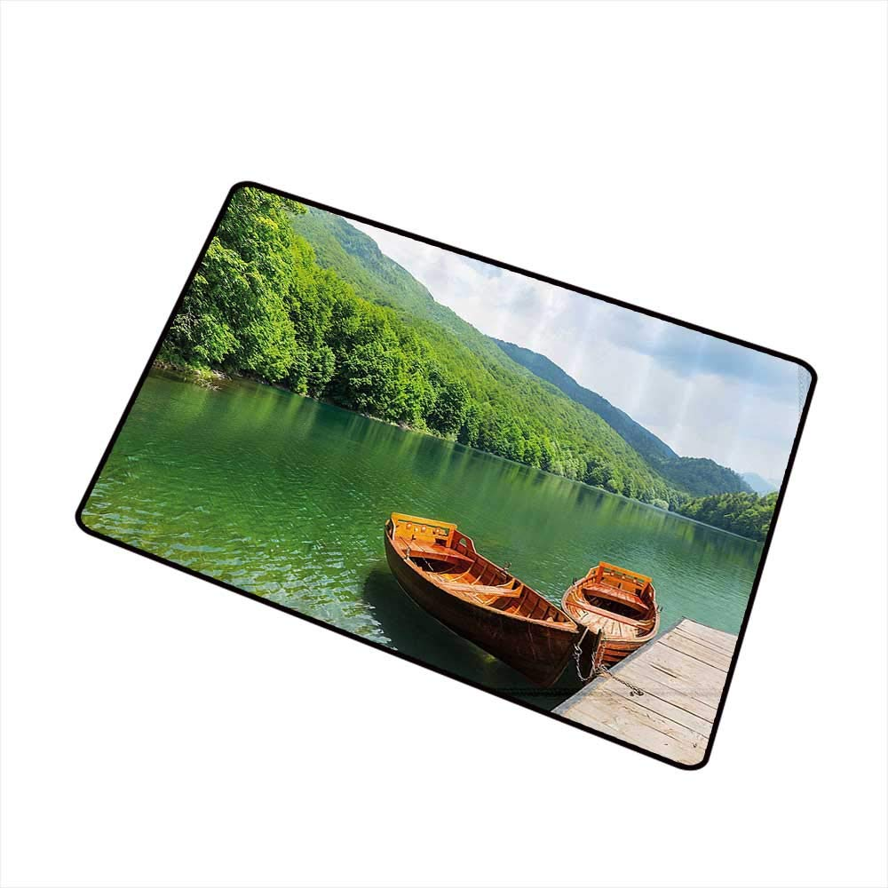 Non-Slip Door mat Nature Boats on The Lake by Forest Surreal Serene in Woodland Paastoral Landscape W35 xL59 Machine wash/Non-Slip Fern Green Cinnamon by Mdxizc
