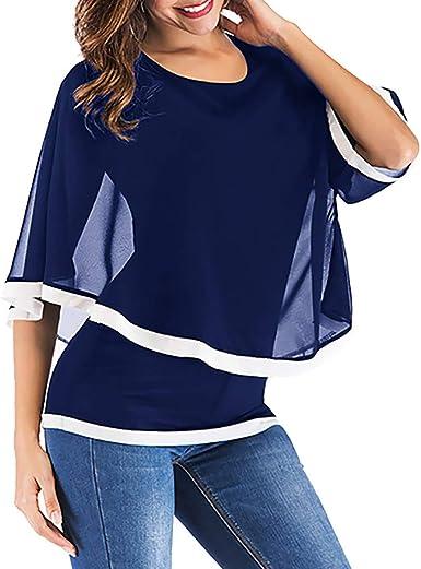 Camisa de Gasa Volantes para Mujer Talla Grande, Camiseta ...