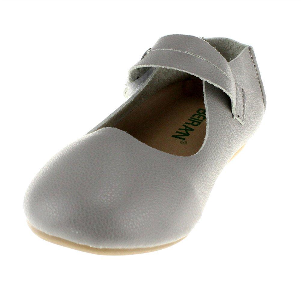 Little Girls Slip on Ballet Flats Casual Dress Shoe,Gray,Little Kid 2.5M