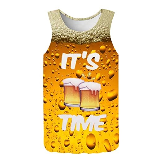 8a87f58a63fd52 Amazon.com  NUWFOR Men s Summer Fashion 3D Printed Sleeveless Top Leisure  Sports Vest Blouse Top  Sports   Outdoors
