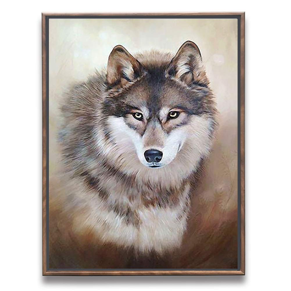 Sumeru Animals Canvas Wall Art Paintings Abstract Wolf 1 Artworks for Home Living Bedroom Office Decoration,1 Piece, 12x16 Inch, Stretched and Framed